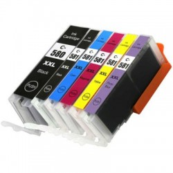 Kompatible Tinten zu PGI-580PGBK XXL/CLI-581 + Photo Blau XXL Multipack