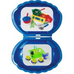 2x Muschel Sandkasten Planschbecken XL 108x79x18 blau + Picknick-Set 32-teilig